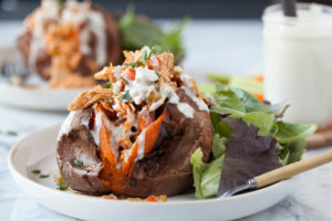 Buffalo Chicken Stuffed Sweet Potatoes with Blue Cheese Dressing (from Against All Grain)