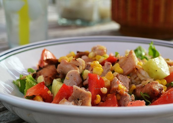 Grilled Honey Mustard Chicken, Arugula and Summer Veggie Rice Bowl