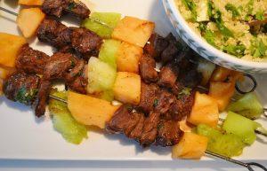 Honey Lime Glazed Steak Kabobs with Summer Melon Kabobs