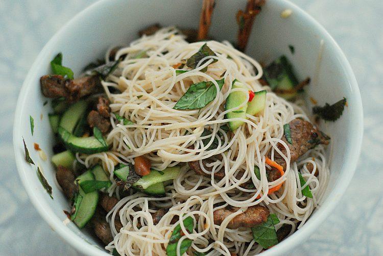 Vietnamese Bun Bo Xao (Beef with Rice Noodle Salad)