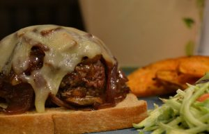 Open-Faced Mushroom and Onion Burgers