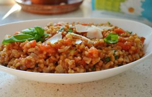 Slow Cooker Parmesan Spelt and Tomato Risotto