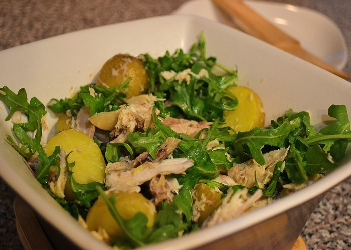 Chicken, Potato, and Arugula Salad with Mustard Vinaigrette