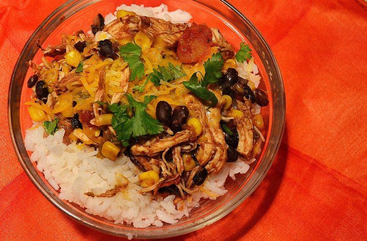 Slow Cooker Chicken Burrito Rice Bowl