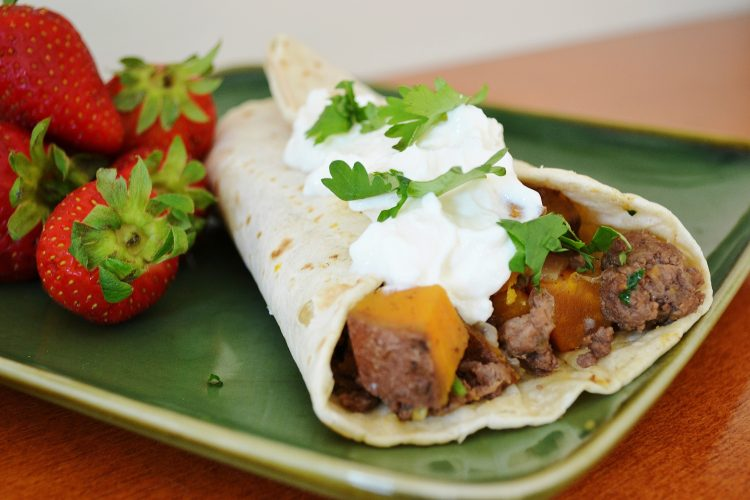 Sweet Potato and Ground Beef Burrito
