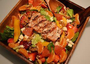 Hawaiian Citrus Blackened Salmon Salad