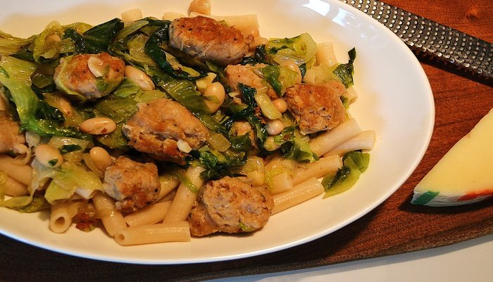 Escarole with Italian Sausage and White Beans