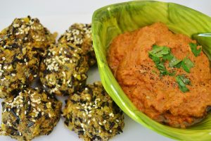 Wild Rice and Sweet Corn Balls with Roasted Red Pepper-Walnut Dip