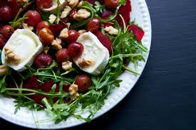 Arugula, Roasted Grape, Goat Cheese and Walnut Salad with Vanilla Vinaigrette