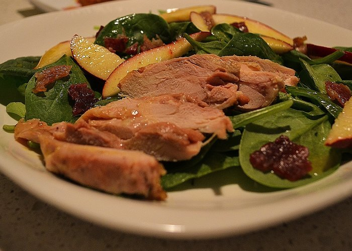 Chicken, Apple, Bacon Spinach Salad With Maple Dressing