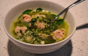 Chicken Sausage and Mixed Greens Soup with Quinoa