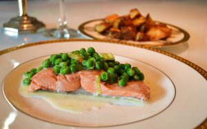 Poached Salmon with a Creamy Pea Sauce