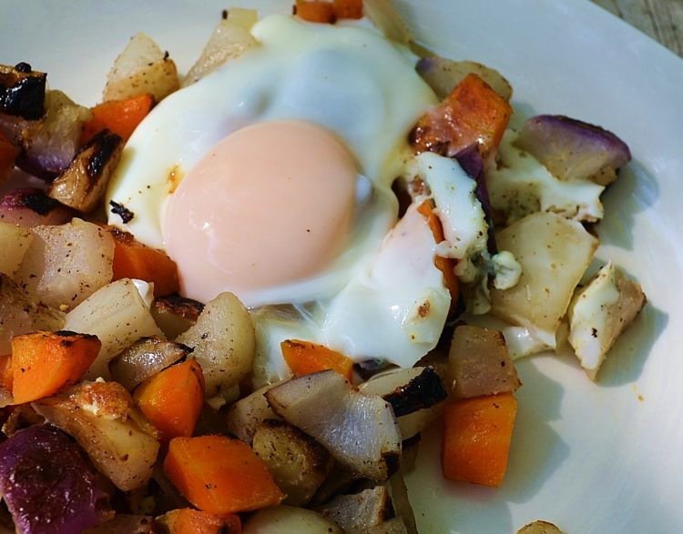Root Veggie Hash and Eggs